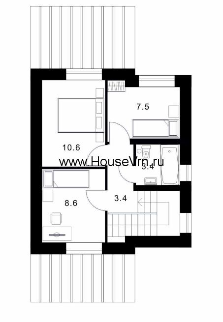 План второго этажа коттеджа