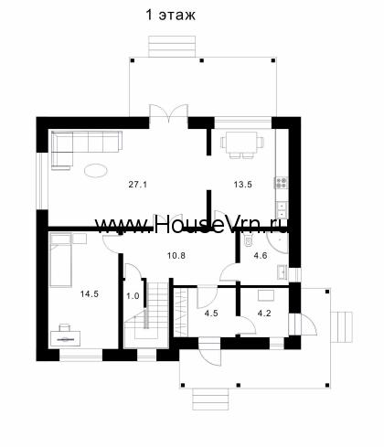 Схема первого этажа дома