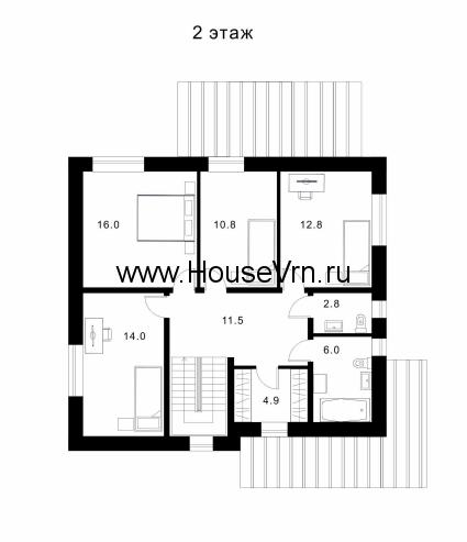 Схема второго этажа дома