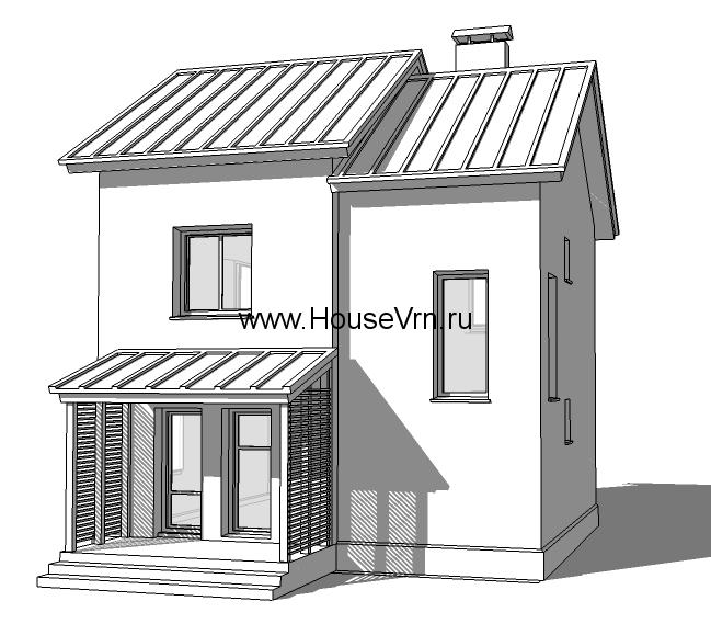Эскиз фасада двухэтажного коттеджа